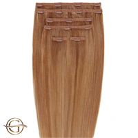 Clip on hair extensions #30 Kastanje - 7 sett - 50 cm | Gold24