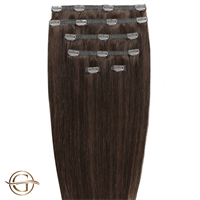 Clip on hair extensions #4 Brun - 7 sett - 50 cm | Gold24