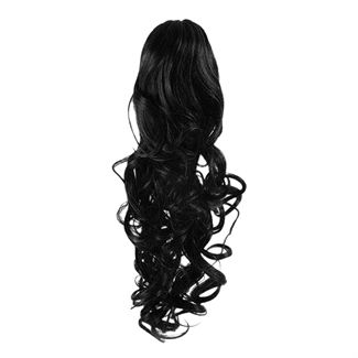 Pony Tail Fiber Extensions Curly Svart 1#