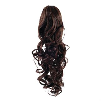 Pony Tail Fiber Extensions Curly Brun 4#