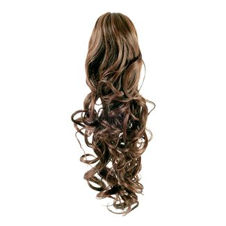 Pony Tail Fiber Extensions Curly Lysebrun 6#