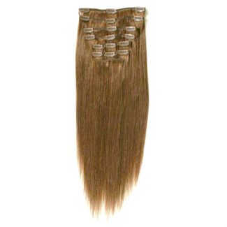 Clip on hair #6 50 cm Lysebrun