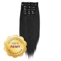 Clip On Hair Extensions 40 cm #1 Svart