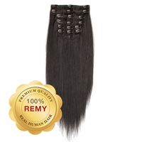 Clip On Hair Extensions  40 cm #1B Svartbrun
