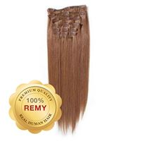 Clip On Hair Extensions 40 cm #30 Rødbrun