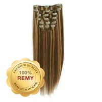 Clip On Hair Extensions 40 cm #4/27 Brun-mix
