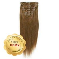 Clip On Hair Extensions 40 cm #6 Lysebrun