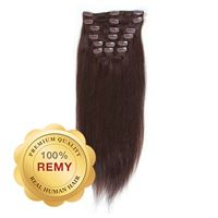 Clip On Hair Extensions  40 cm #2 Mørkebrun