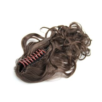 Pony tail extensions syntetisk Krokodilleklemme Curly brun 4# Claw