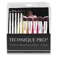 Technique Pro® Makeupbørster, Silver Edition - 10 stk